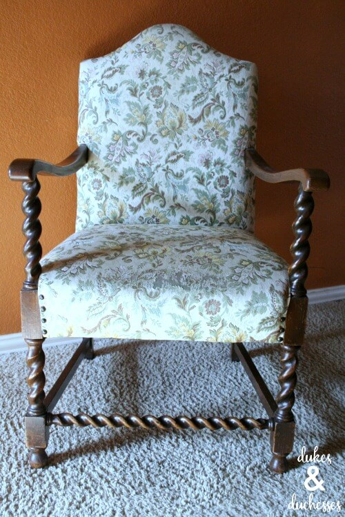 upholstered chair before painting