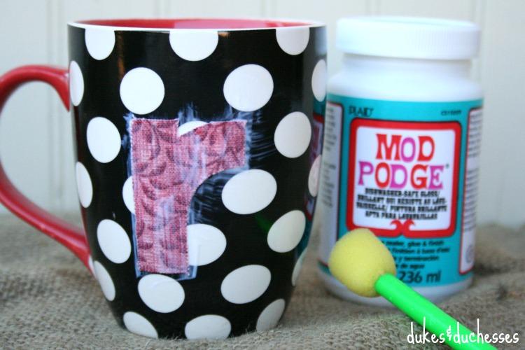 fabric monogram on mug