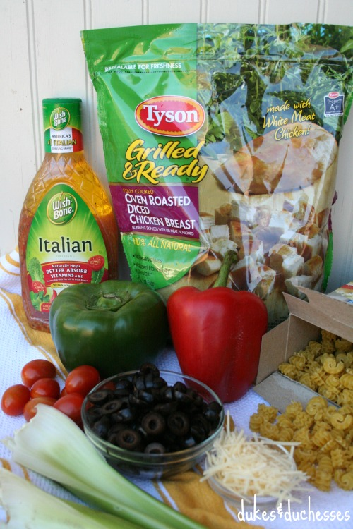 ingredients for zesty chicken pasta salad