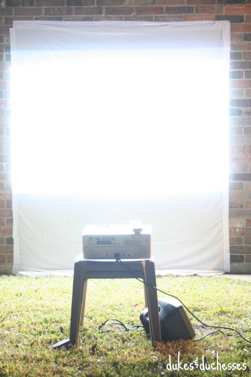 movie screen and projector for backyard movie night