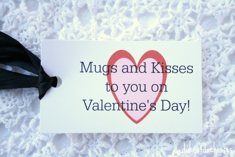 mugs and kisses printable tag