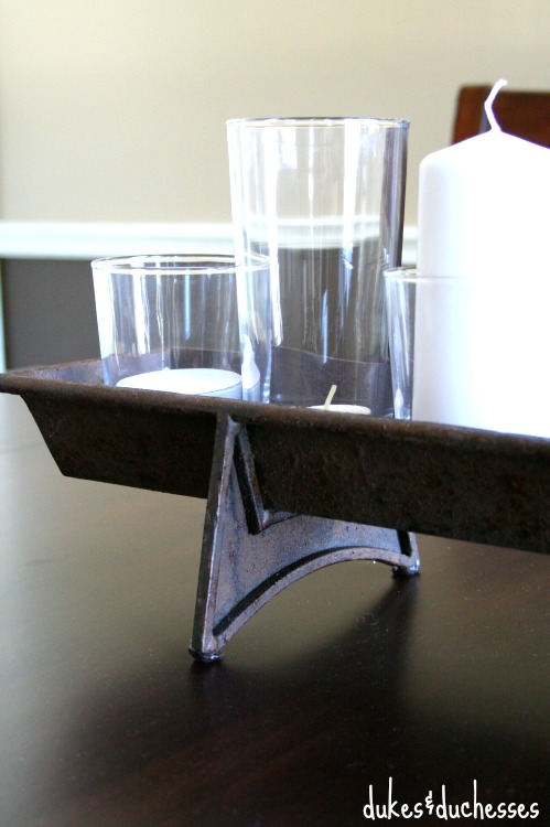 rustic centerpiece on dining room table