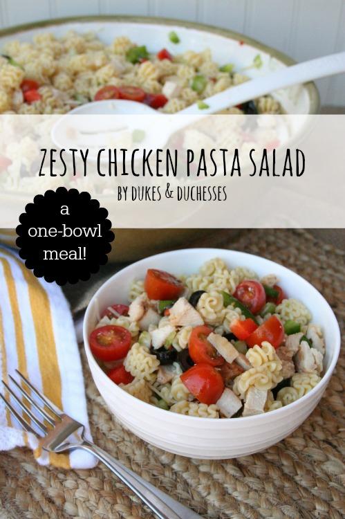 zesty chicken pasta salad one bowl meal