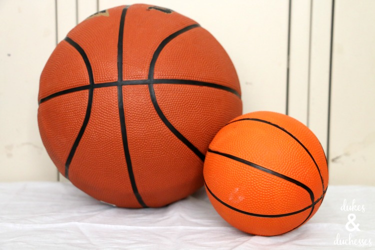 basketballs to upcycle as bowls for a sports party