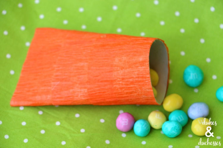 candy in upcycled carrot party favor