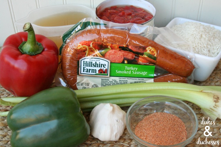 ingredients for one skillet spicy sausage jambalaya