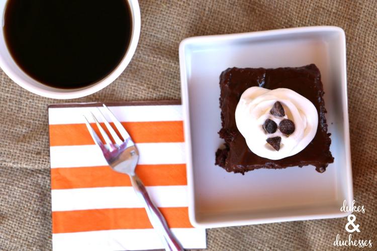 piece of chocolate espresso poke cake