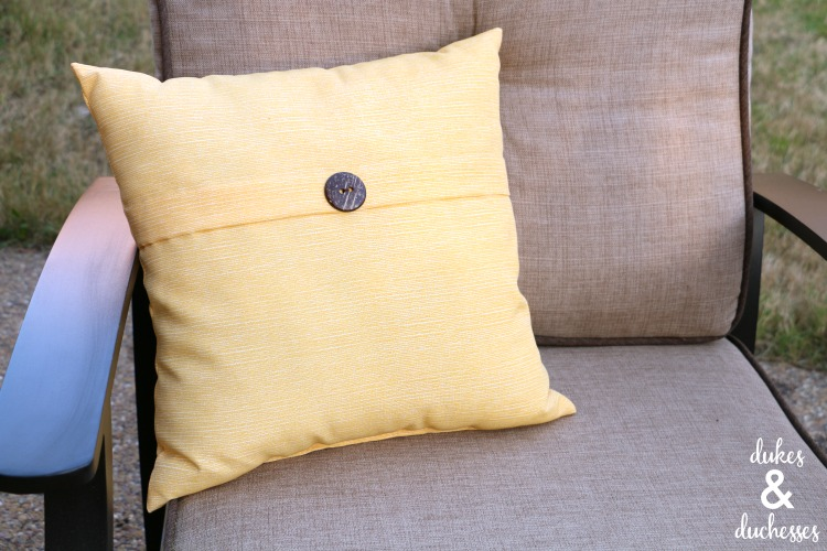 pillow on outdoor chair