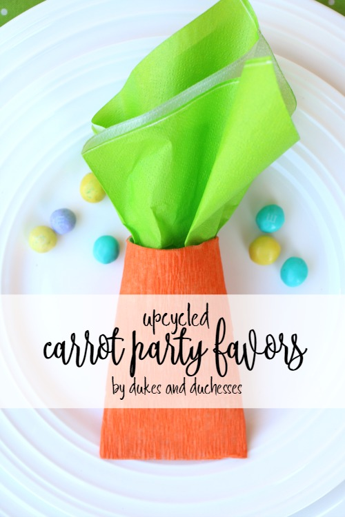 upcycled carrot party favors for easter