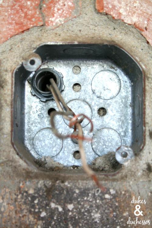 wires on outdoor light fixture