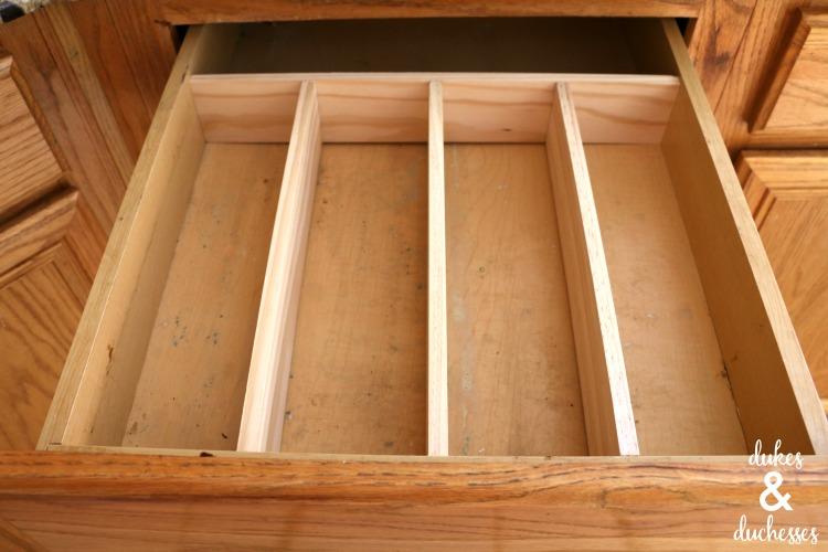 DIY drawer divider for utensil drawer