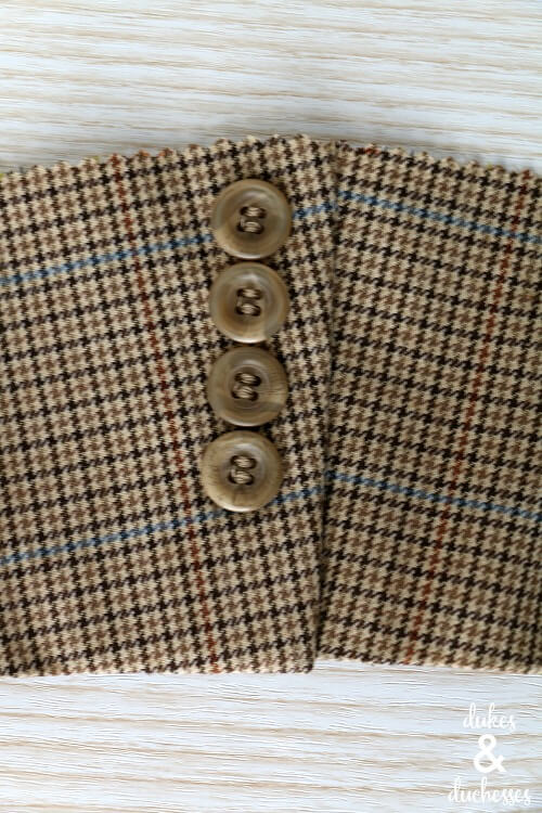 cut suit jacket cuff for coffee sleeve