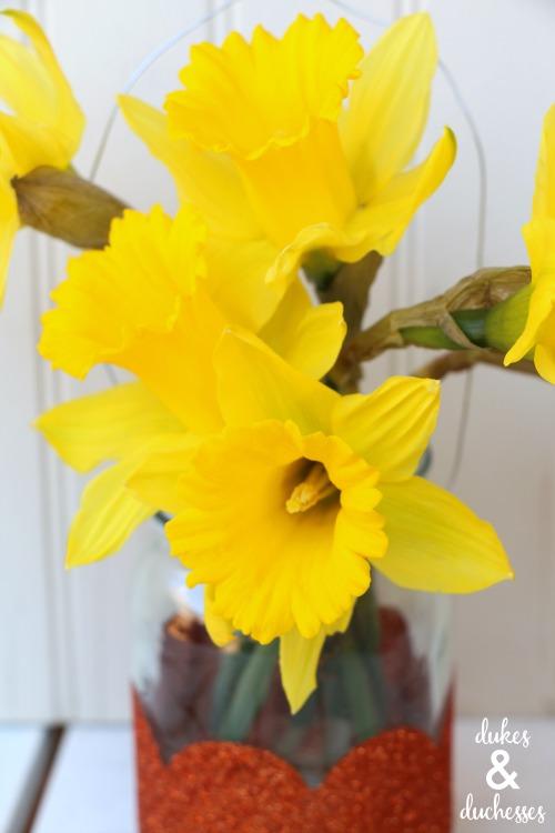 daffodils in may day mason jar