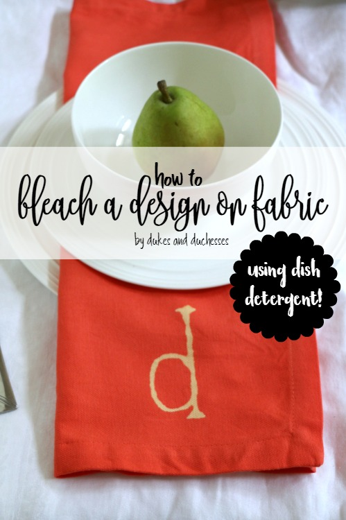 how to bleach a design on fabric using dish detergent