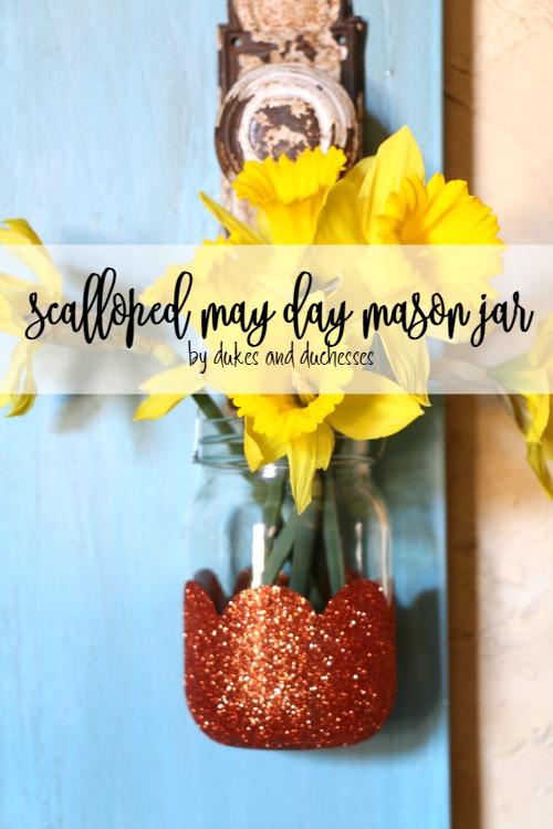 scalloped may day mason jar