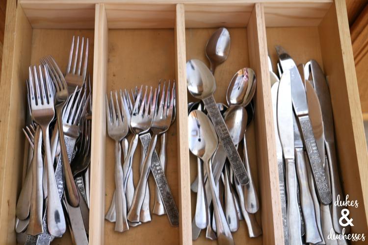 utensil drawer with DIY drawer divider