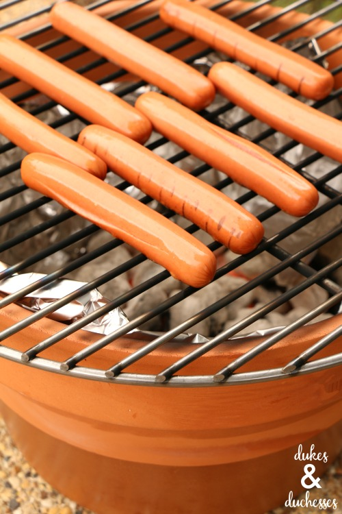 hot dogs on DIY charcoal grill