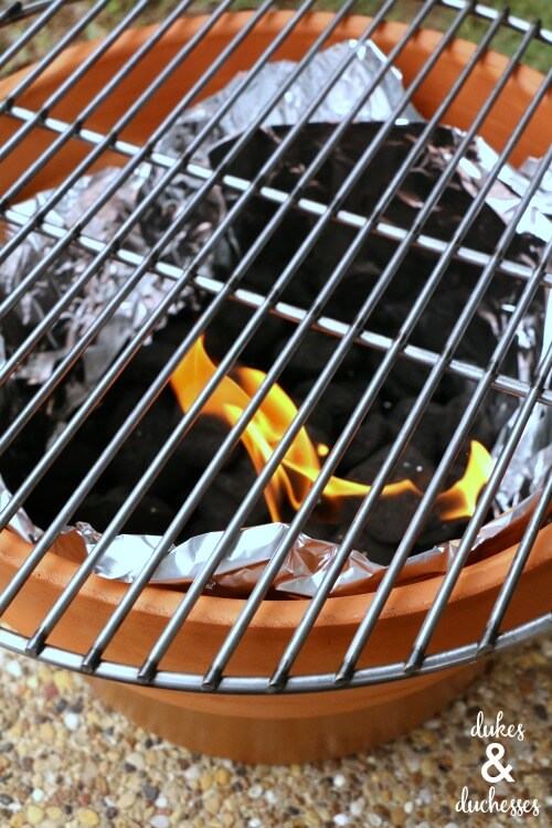 how to use a DIY charcoal grill