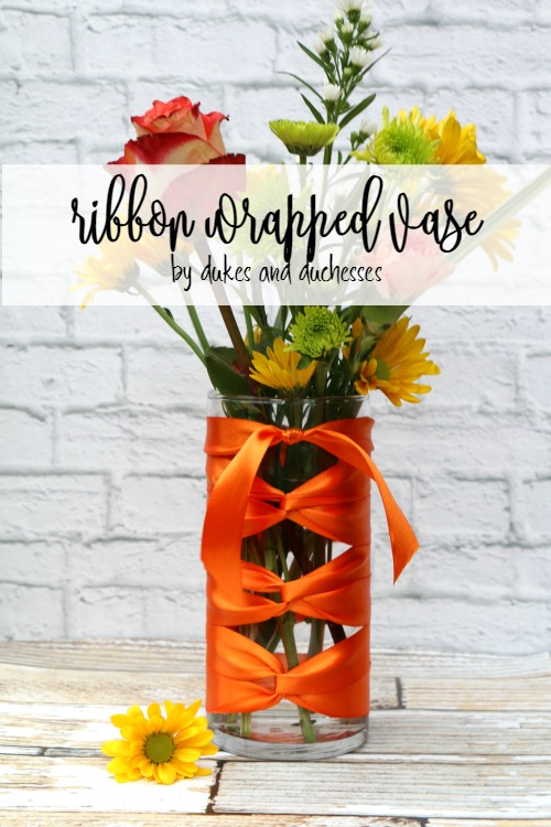 ribbon wrapped vase