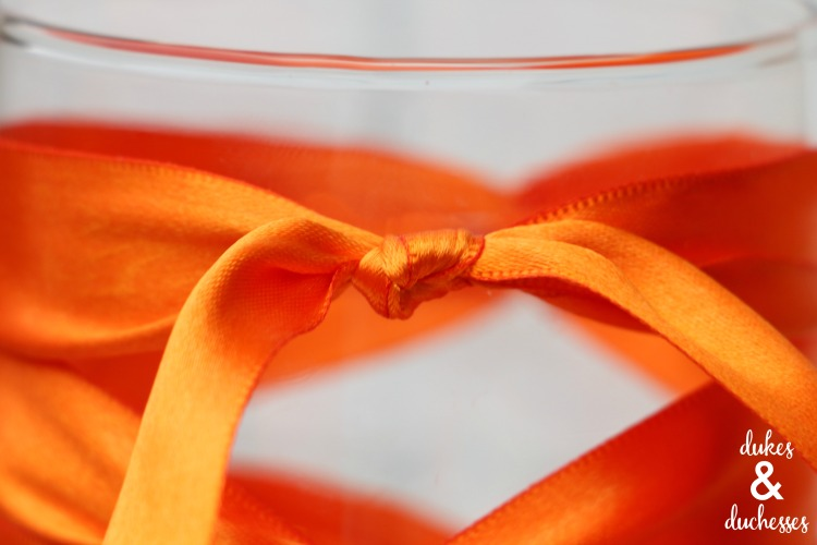 top of ribbon wrapped vase
