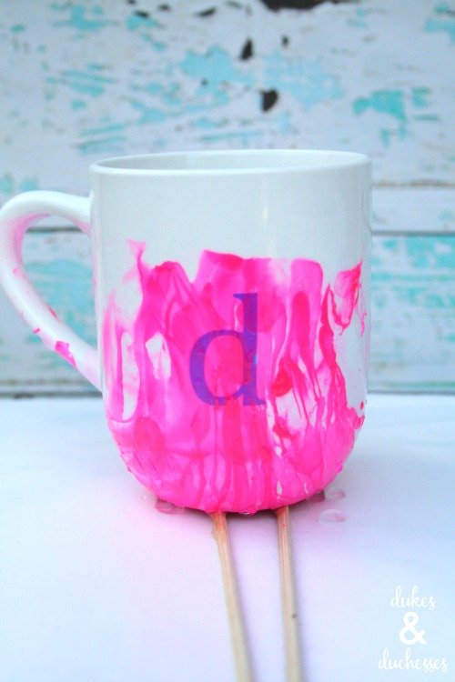 monogrammed marbled mugs