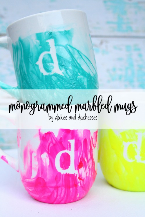 monogrammed marbled mugs