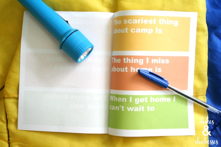 printable camp journal