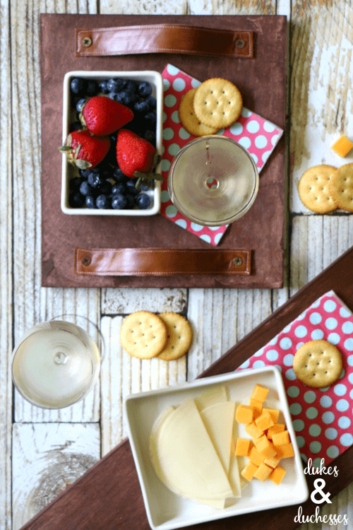DIY rustic wooden tray with leather handles