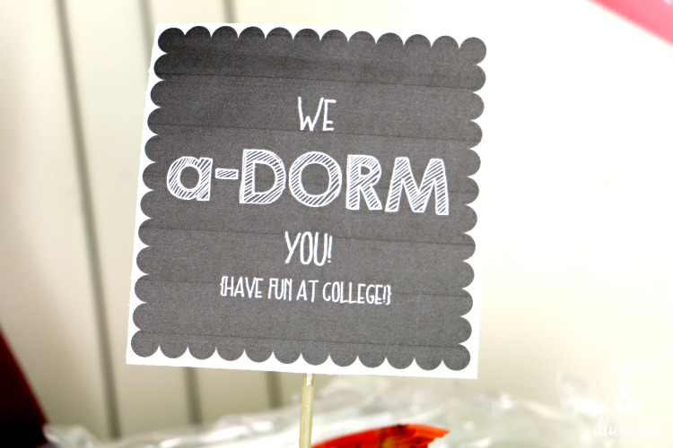 dorm care package with printable