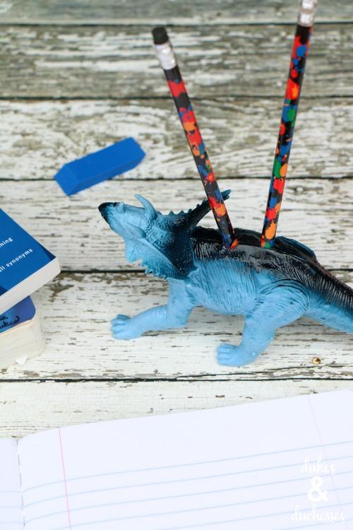 repurposed dinosaur pencil holder