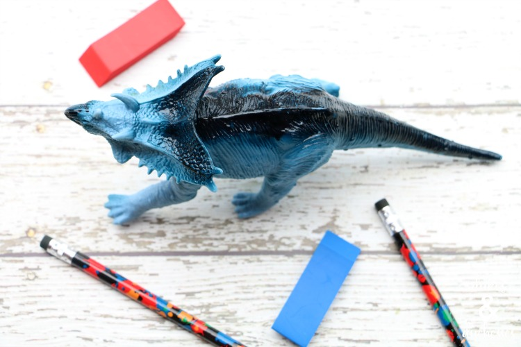 repurposed dinosaur pencil holder