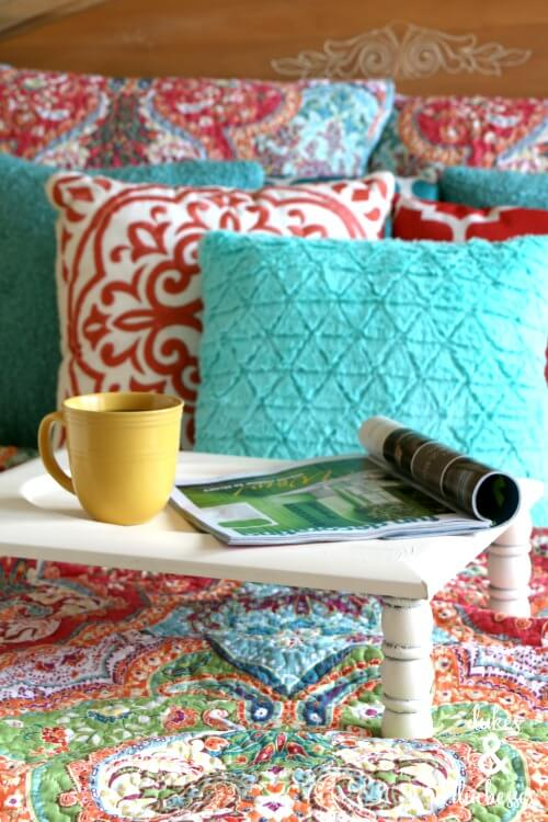 DIY repurposed bed tray table