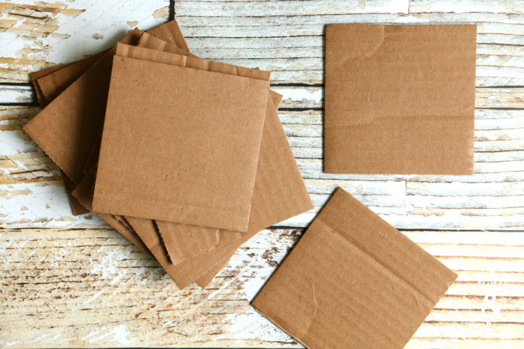 cardboard box cut into squares for coasters