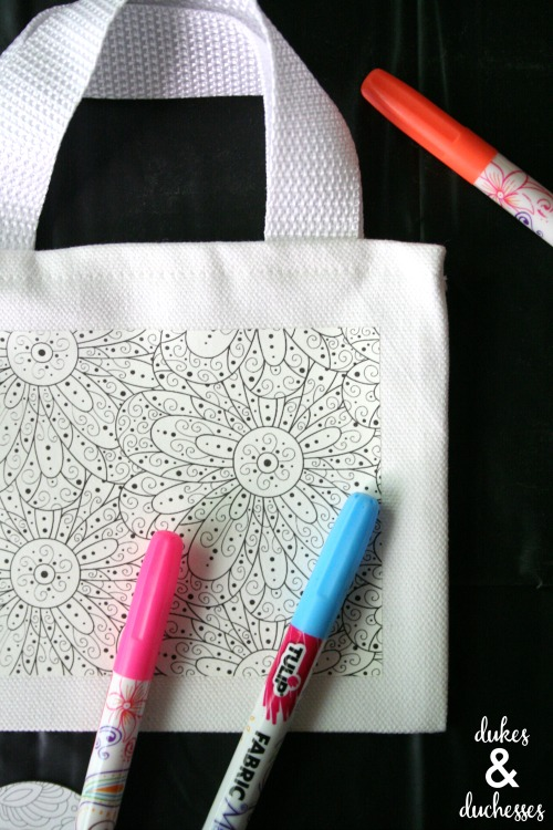 coloring tote bags at coloring party