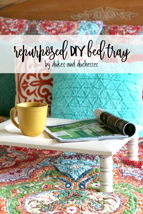 repurposed DIY bed tray