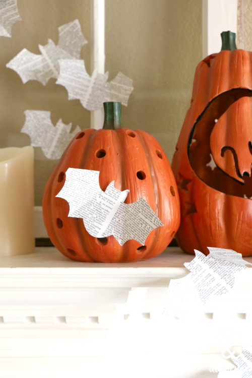 DIY book page bats on halloween mantel