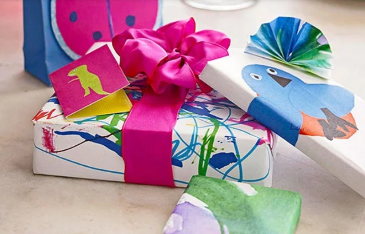 artwork made from gift wrap