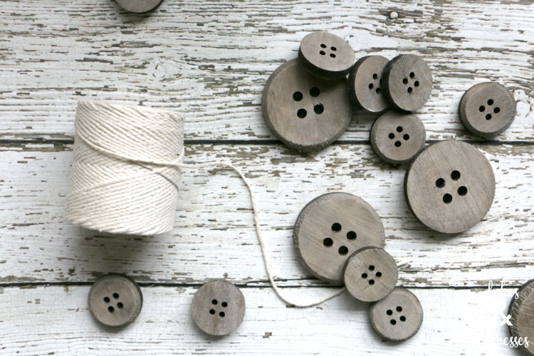 buttons and twine to make farmhouse garland