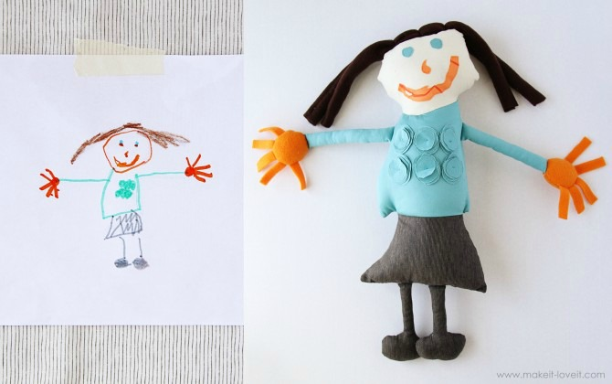 childs drawing turned into doll