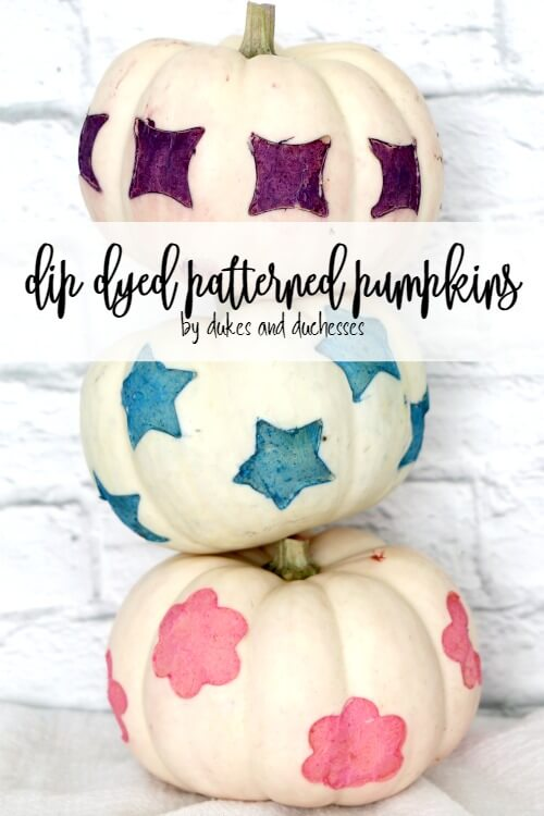 dip dyed patterned pumpkins