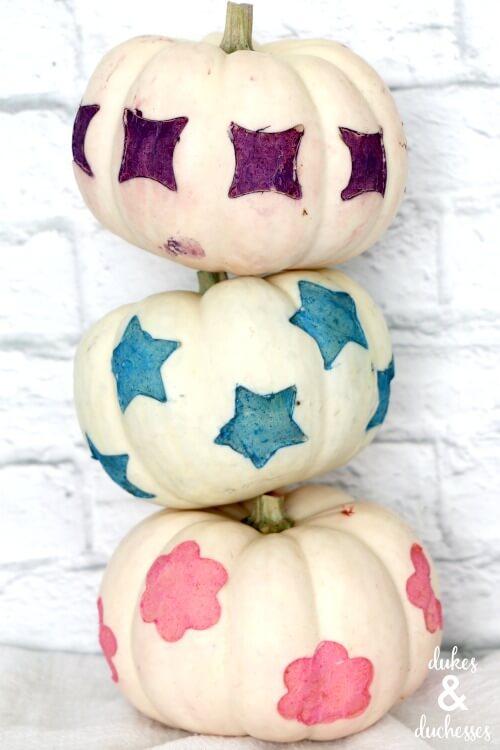 dip dyed patterned pumpkins