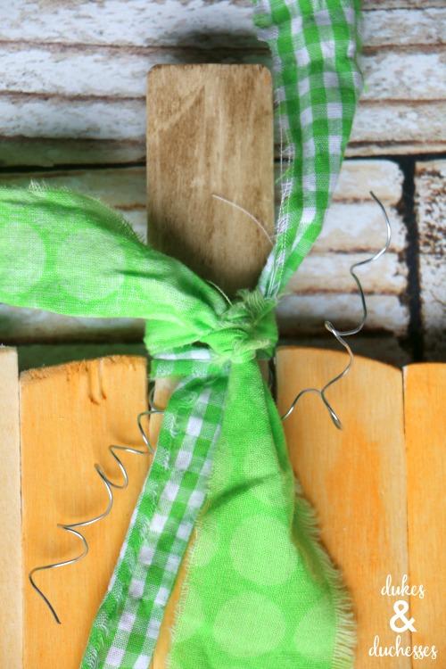 fabric on pumpkin stem