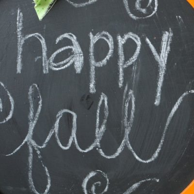 Repurposed Pumpkin Chalkboard Sign