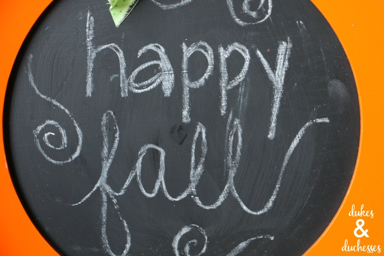Repurposed Pumpkin Chalkboard Sign