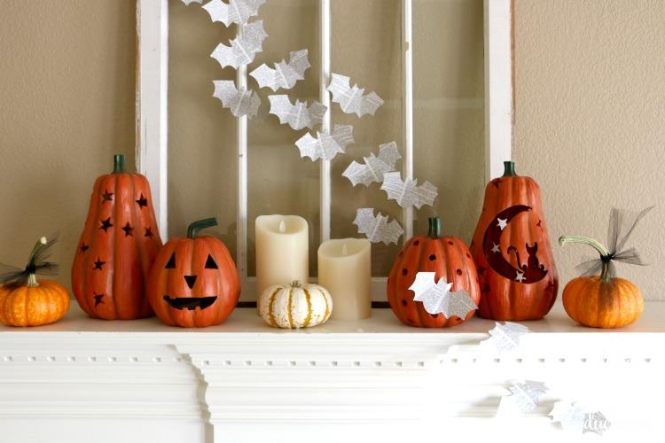 Book Page Bats on Halloween Mantel by Randi Dukes