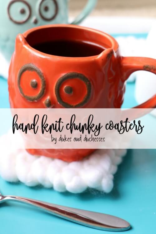 hand knit chunky coasters