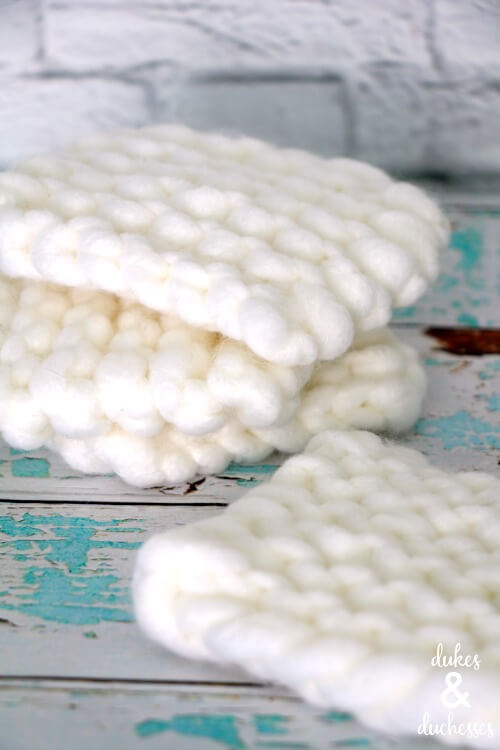 hand knit coasters for the home