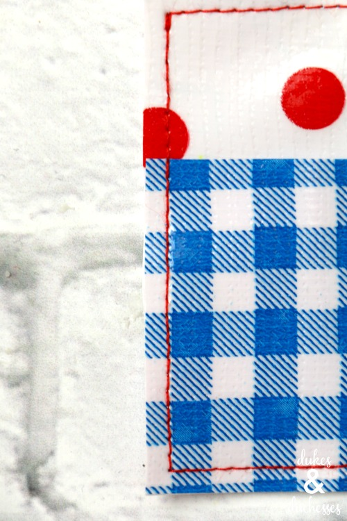 stitched oilcloth pieces