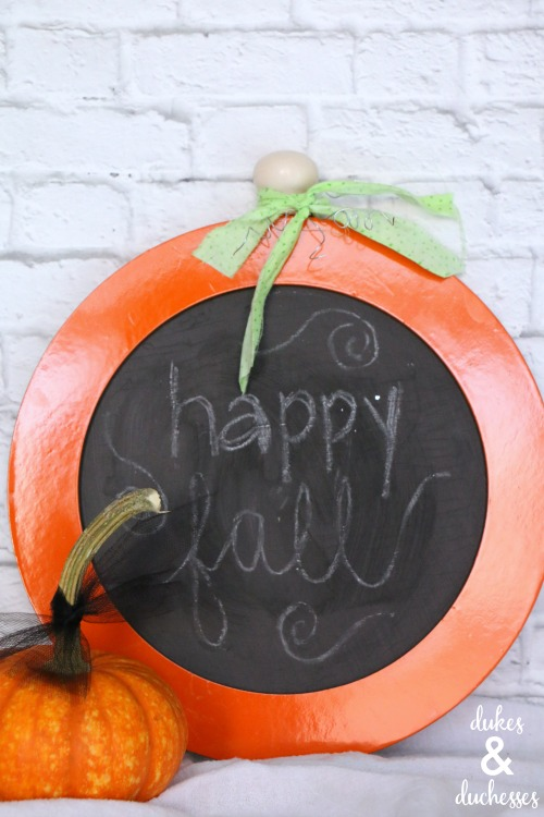 upcycled chalkboard pumpkin sign