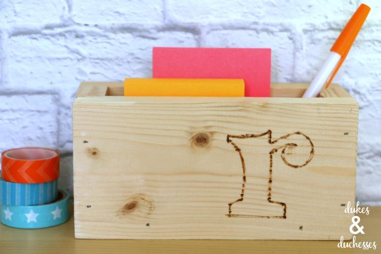 wood burned box for desk organization